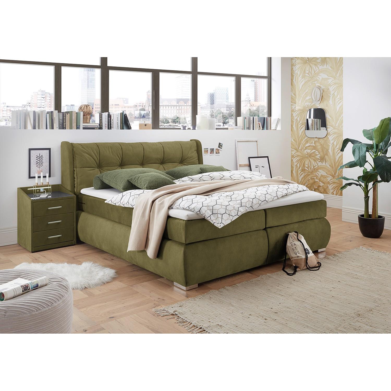 home24 loftscape Boxspringbett Bellview 180x200 cm Microvelour Olivgrün mit Bettkästen/Matratze/Kaltschaumtopper