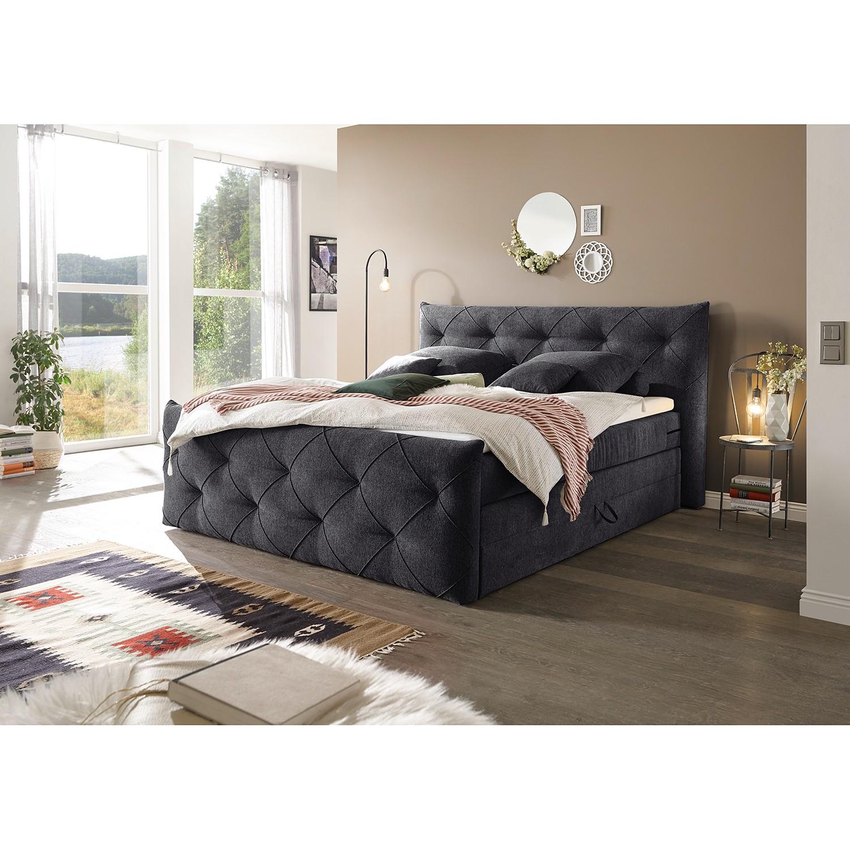 home24 loftscape Boxspringbett Bellvue 180x200 cm Webstoff Anthrazit mit Bettkästen/Matratze/Kaltschaumtopper