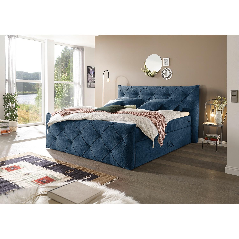 home24 loftscape Boxspringbett Bellvue 180x200 cm Webstoff Dunkelblau mit Bettkästen/Matratze/Kaltschaumtopper