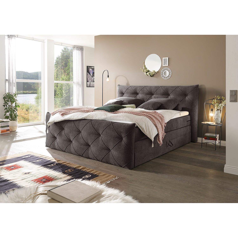home24 loftscape Boxspringbett Bellvue 180x200 cm Webstoff Espresso mit Bettkästen/Matratze/Kaltschaumtopper