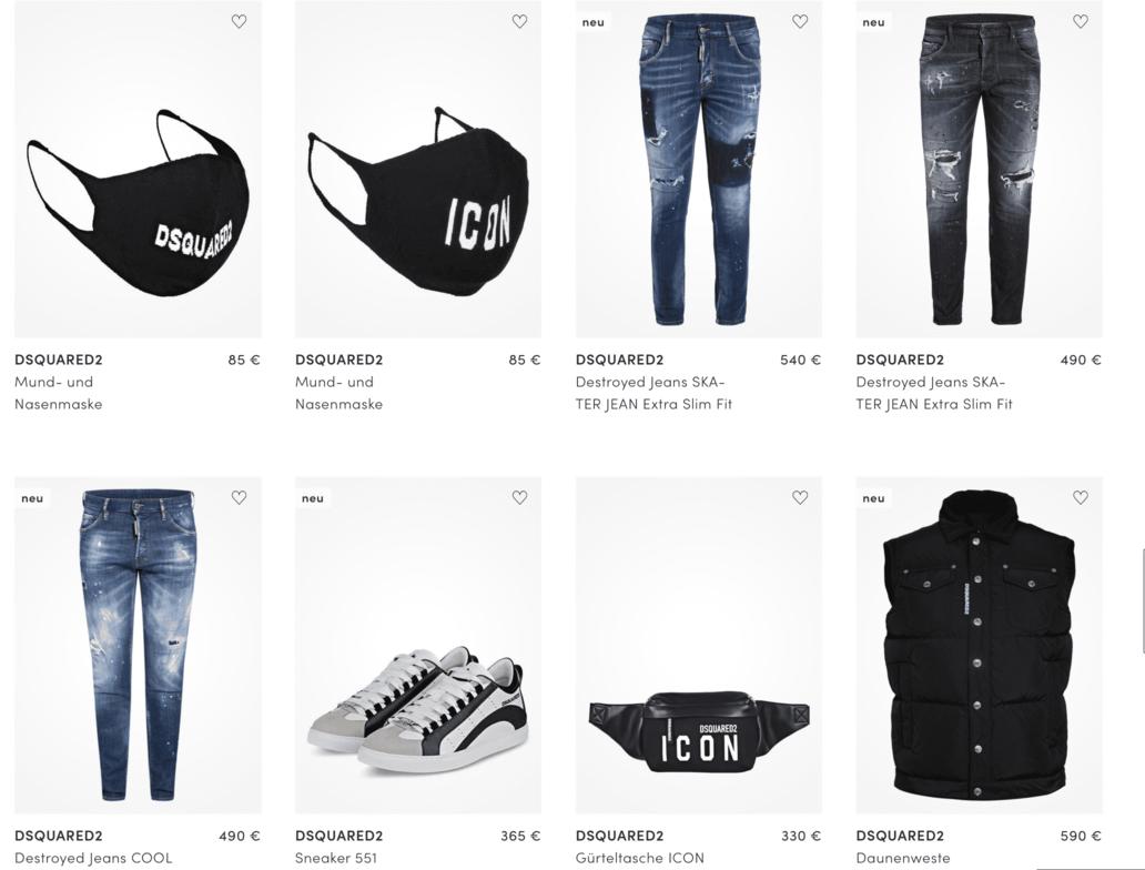 Dsquared2_online_shop_Herren_Jeans_Damen_Cap_ICON_T-shirt_dsquared