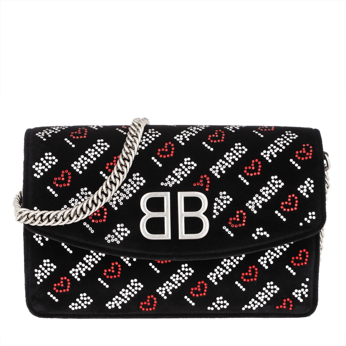 "Balenciaga Clutch - BB Wallet On Chain ""Love Paris"" Velvet Black - in schwarz - für Damen"