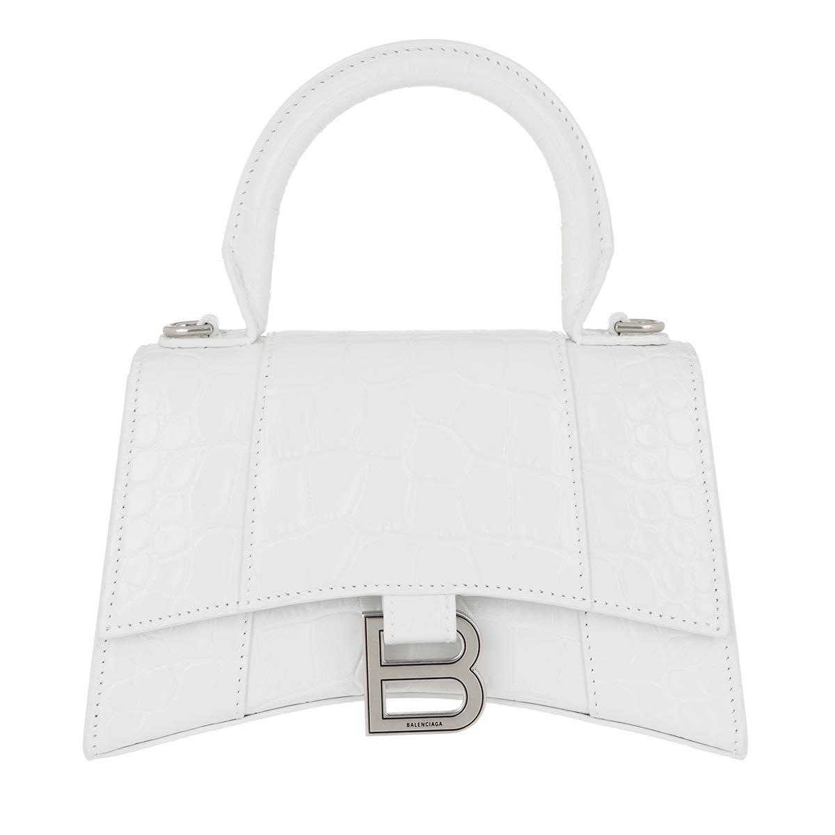 Balenciaga Umhängetasche - Hourglass Top Handle XS Shoulder Bag White - in weiß - für Damen