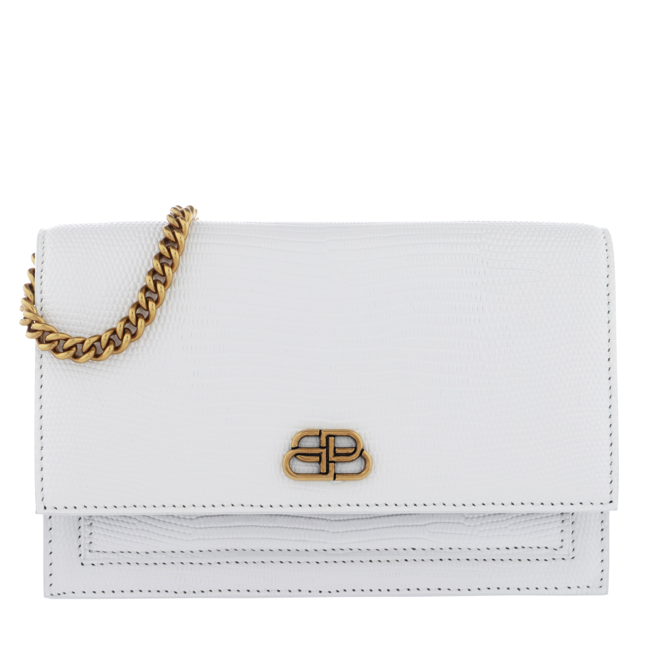 Balenciaga Umhängetasche - Sharp Clutch With Pocket On Chain Leather White - in weiß - für Damen
