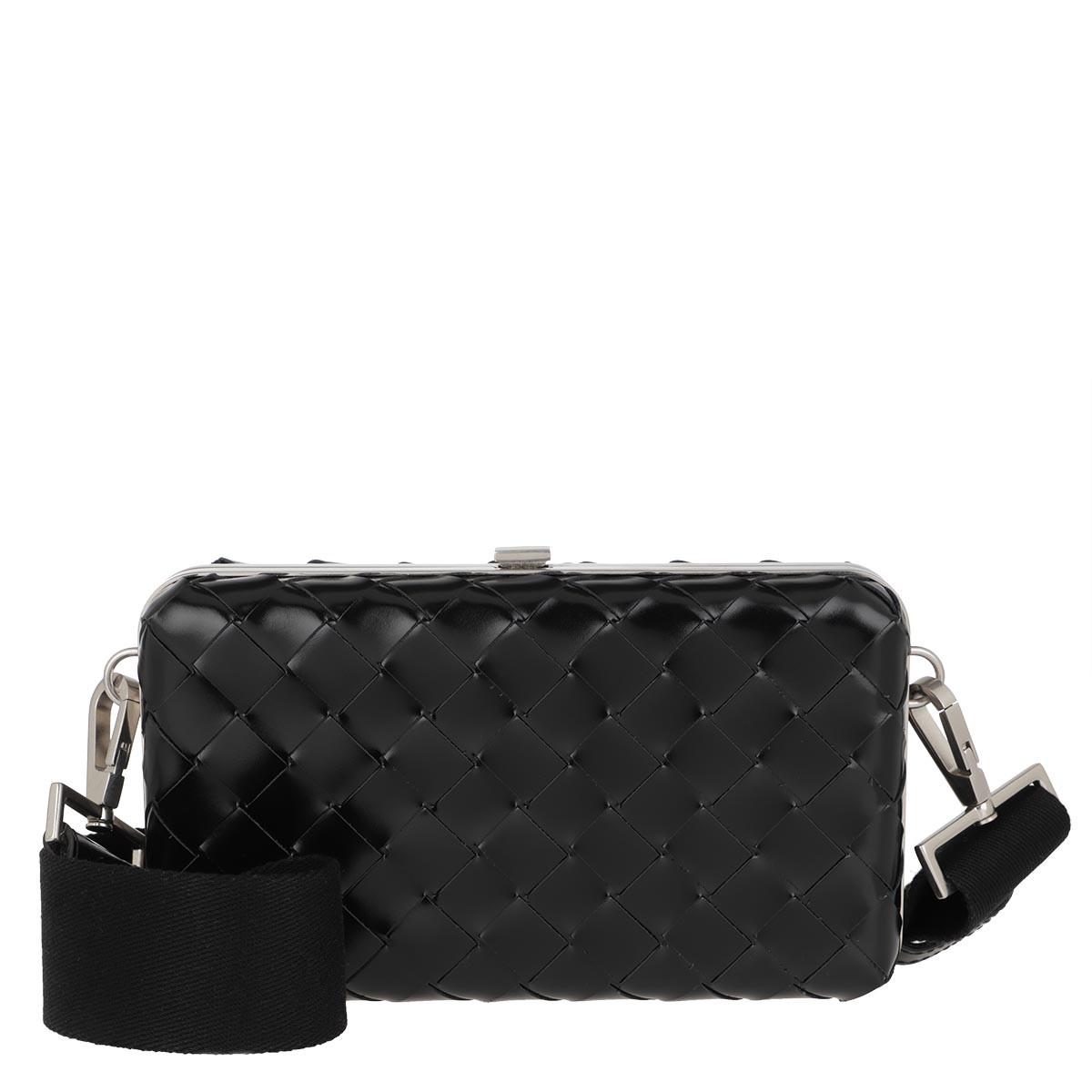 Bottega Veneta Umhängetasche - Men Woven Messenger Bag Leather Black - in schwarz - für Damen