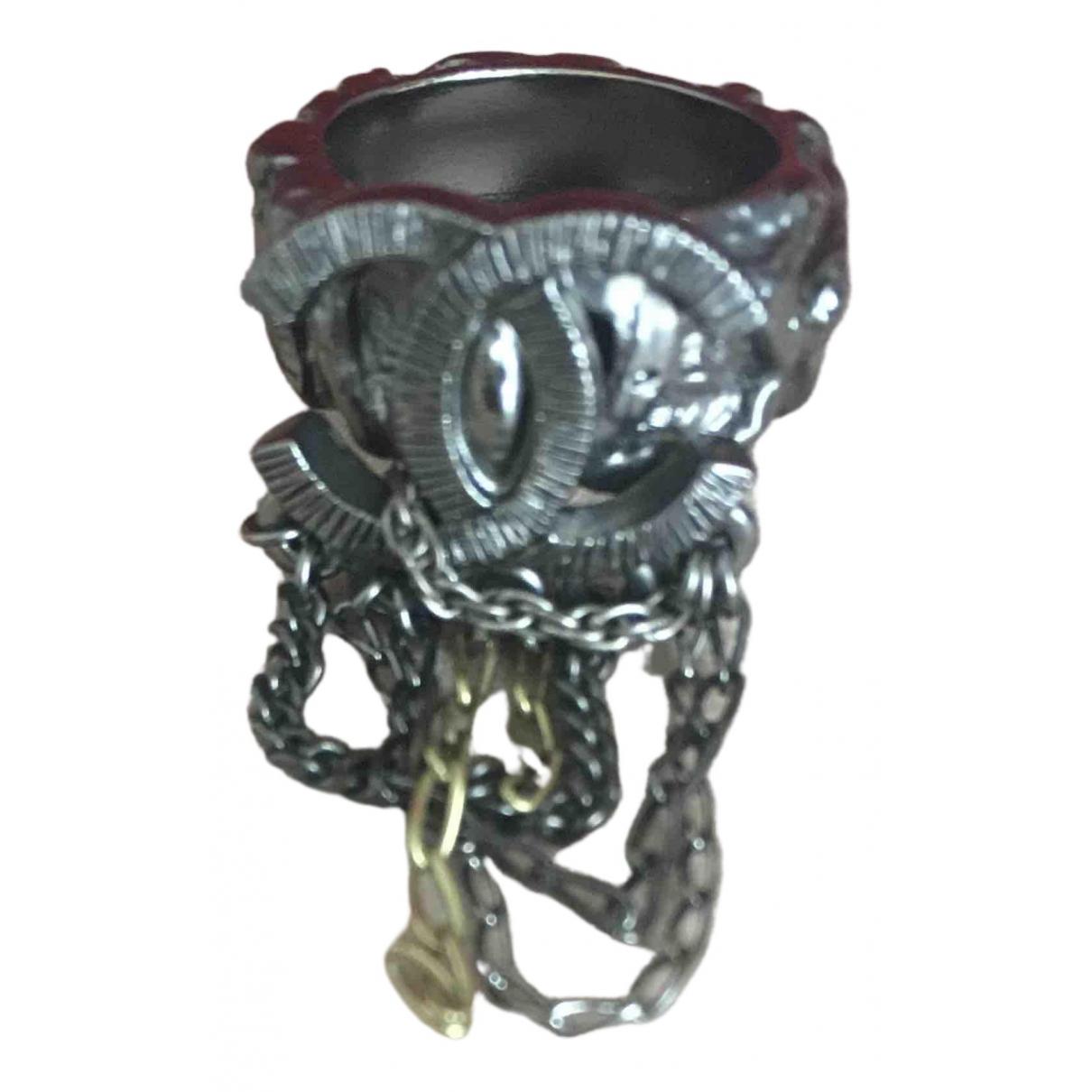 Chanel CC Black Metal ring for Women 54 EU