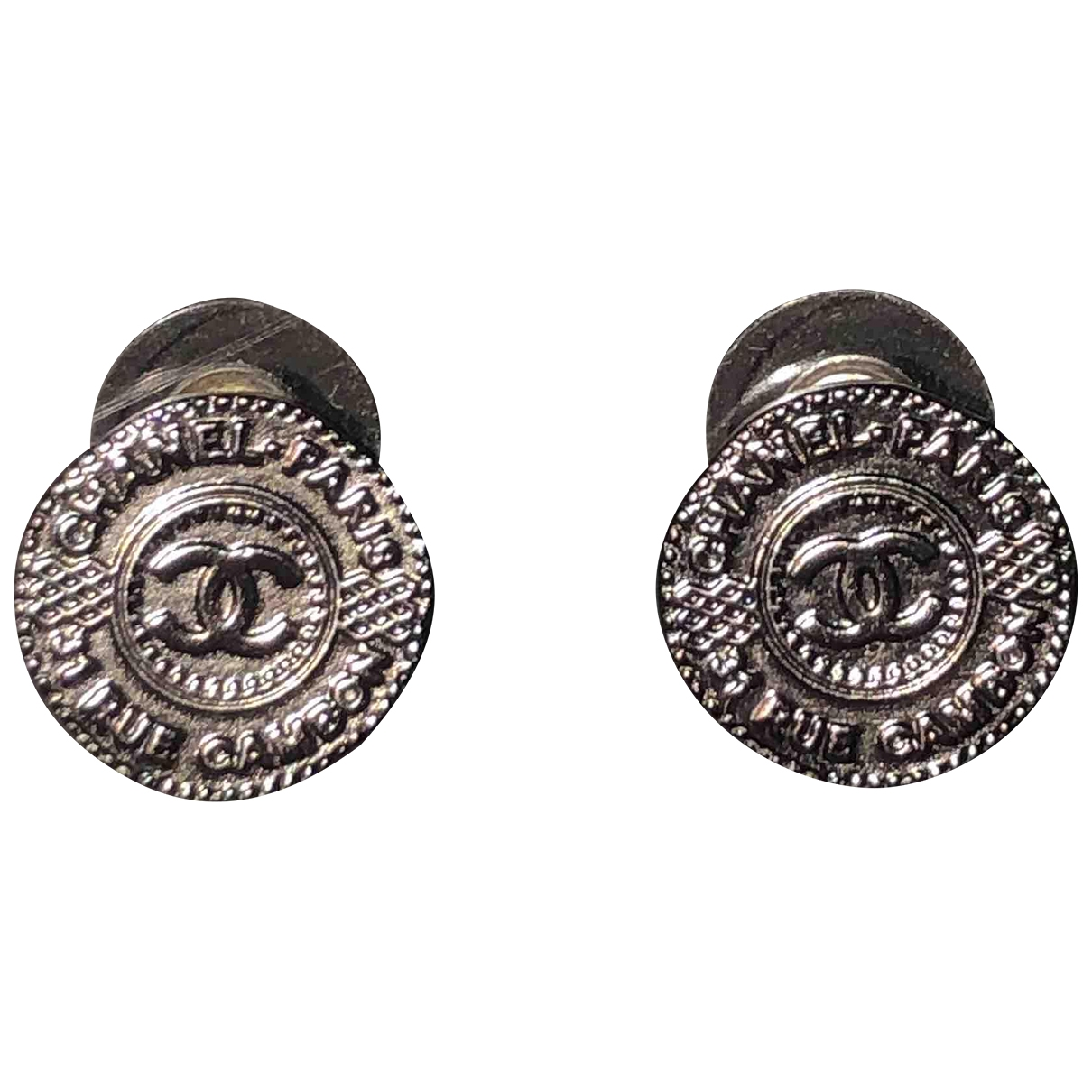 Chanel CHANEL Anthracite Metal Earrings for Women N