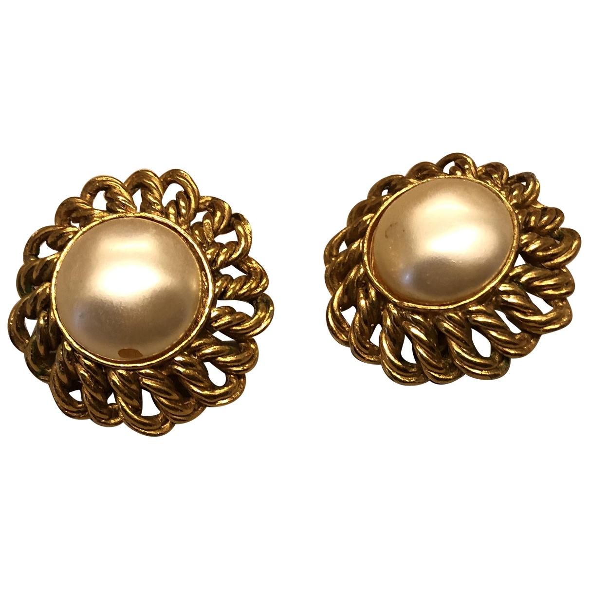 Chanel CHANEL Beige Pearls Earrings for Women N