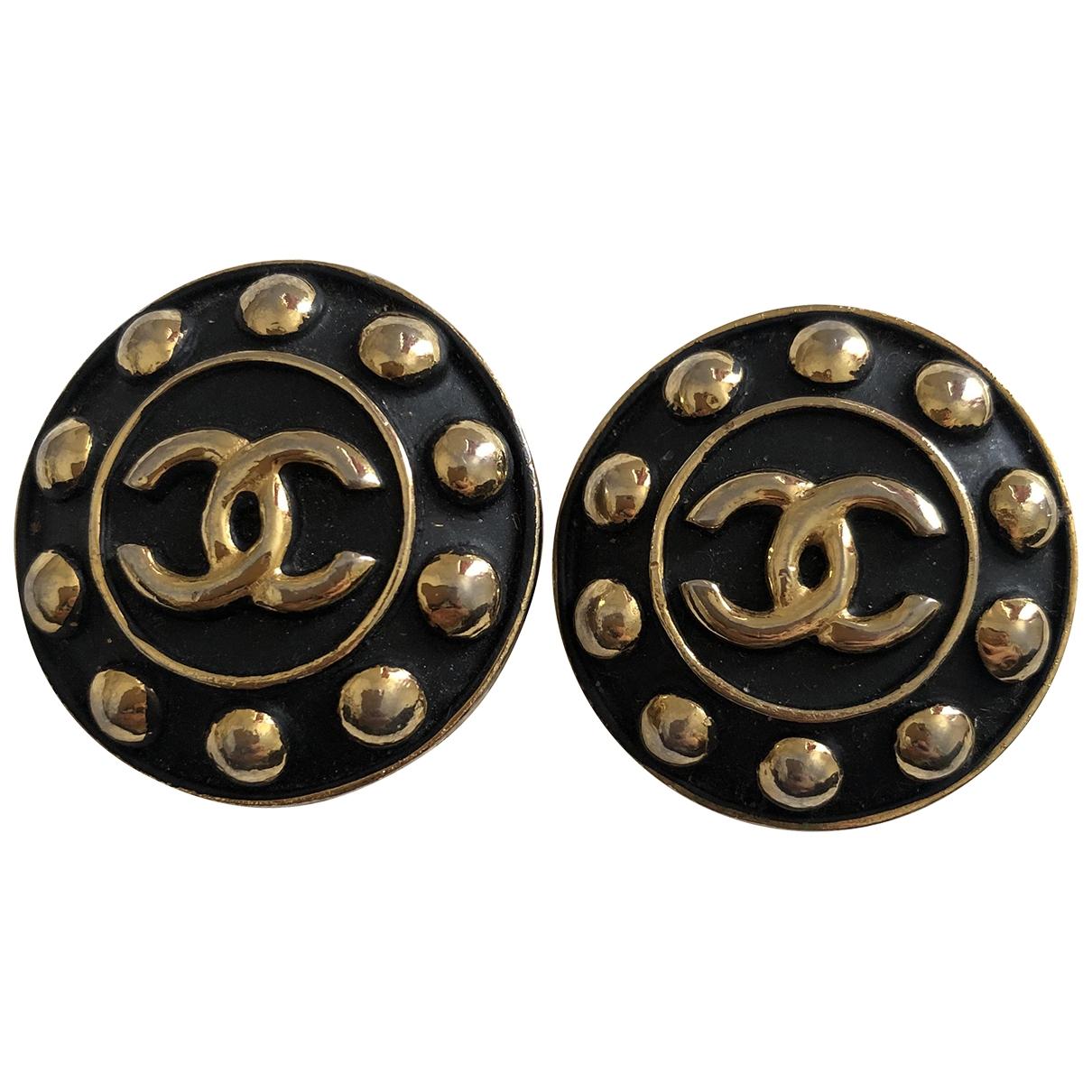 Chanel CHANEL Black Metal Earrings for Women N