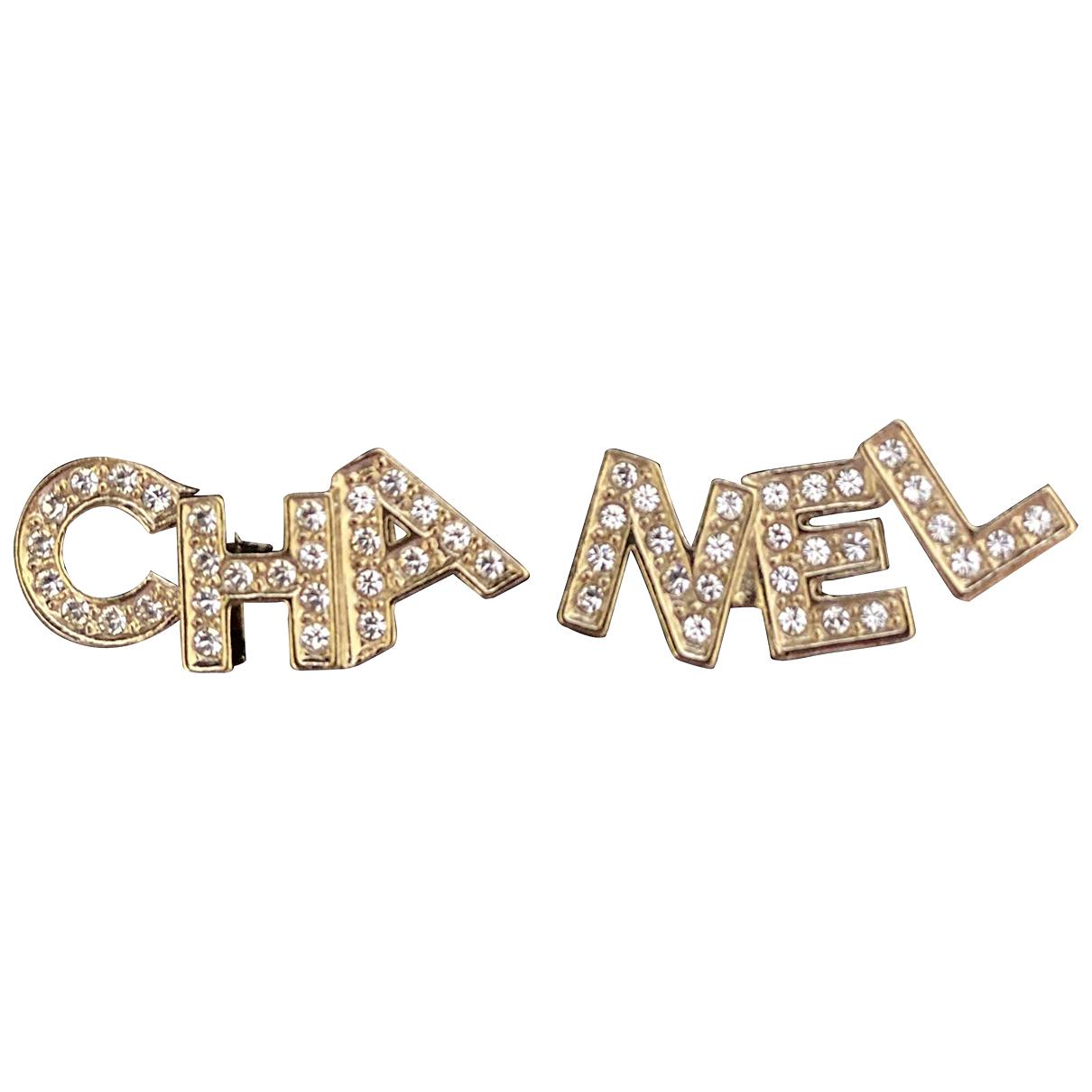 Chanel CHANEL Ecru Metal Earrings for Women N