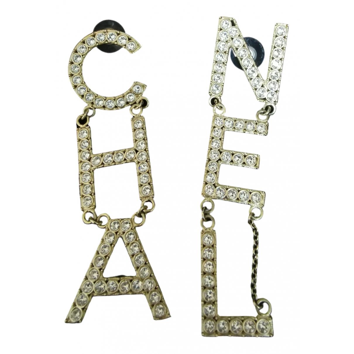 Chanel CHANEL Gold Crystal Earrings for Women N
