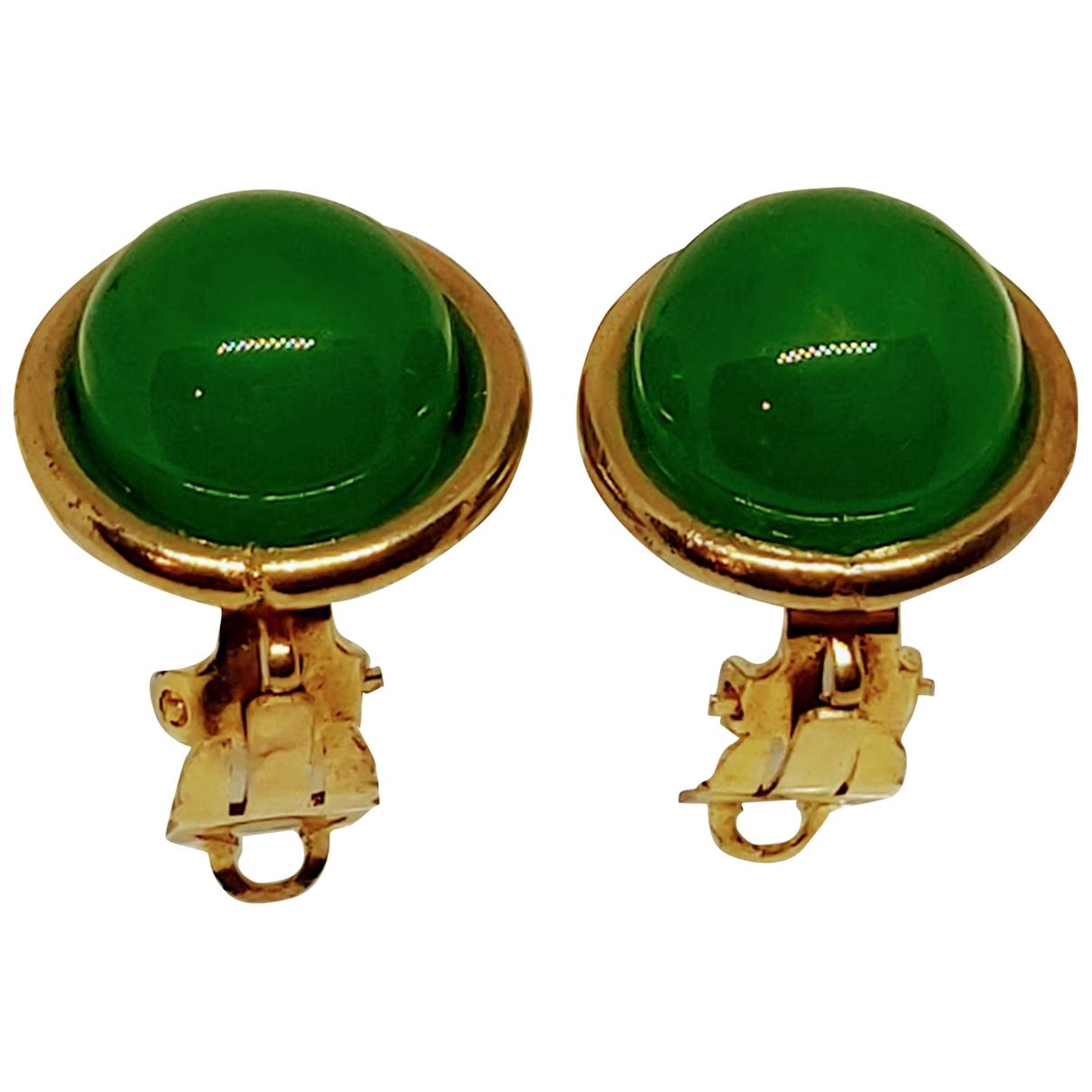 Chanel CHANEL Green Metal Earrings for Women N