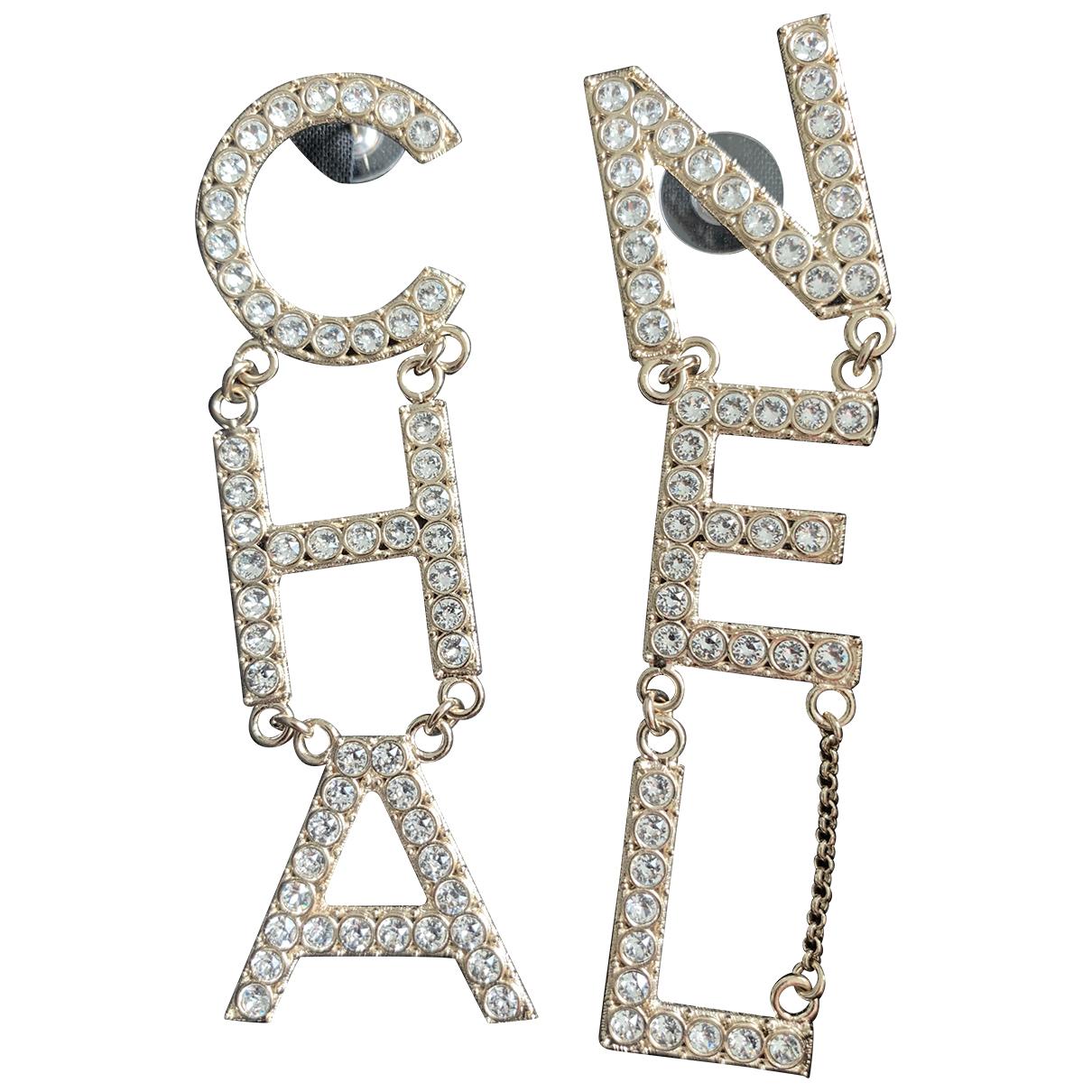 Chanel CHANEL Metallic Metal Earrings for Women N