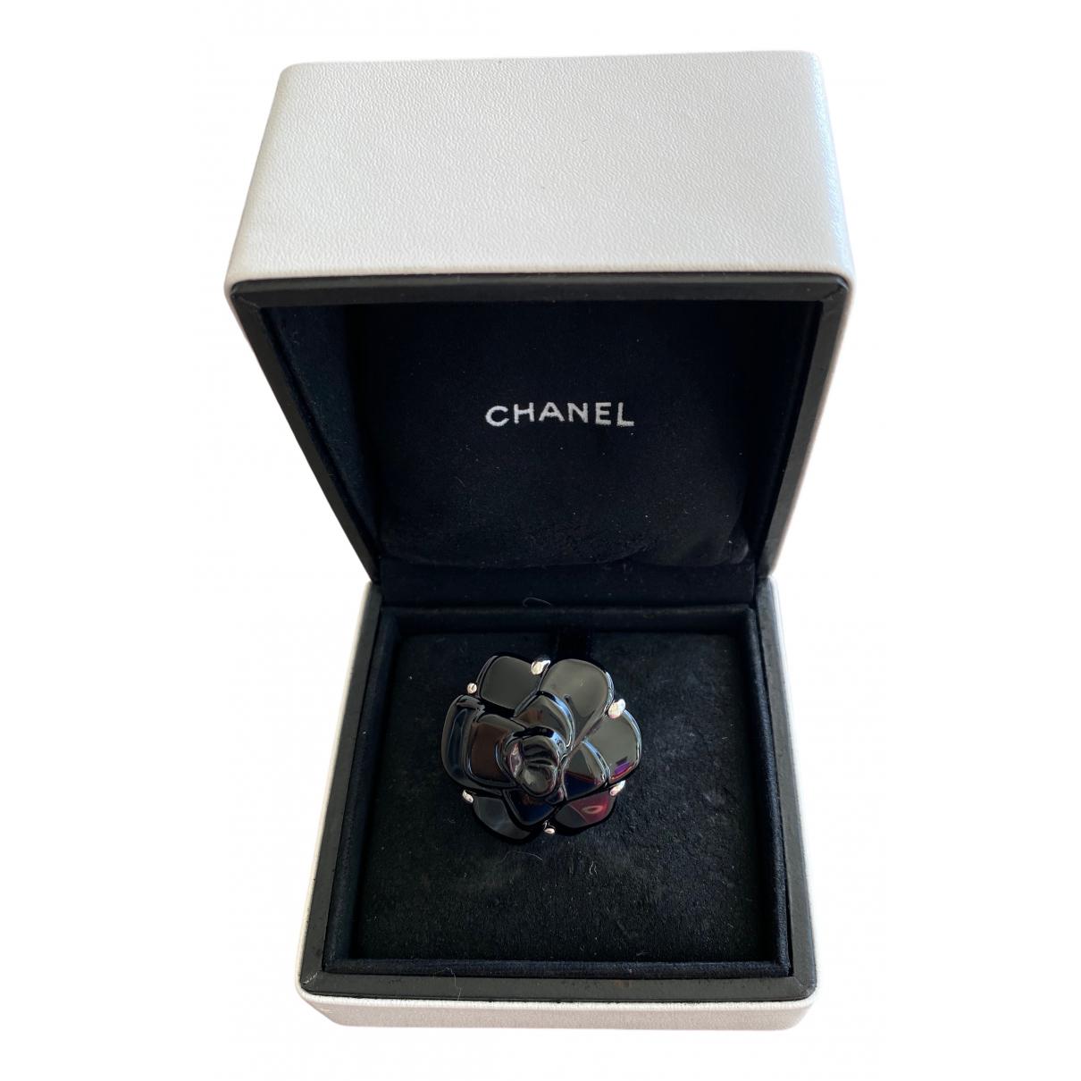 Chanel Camélia Black White gold ring for Women 50 EU