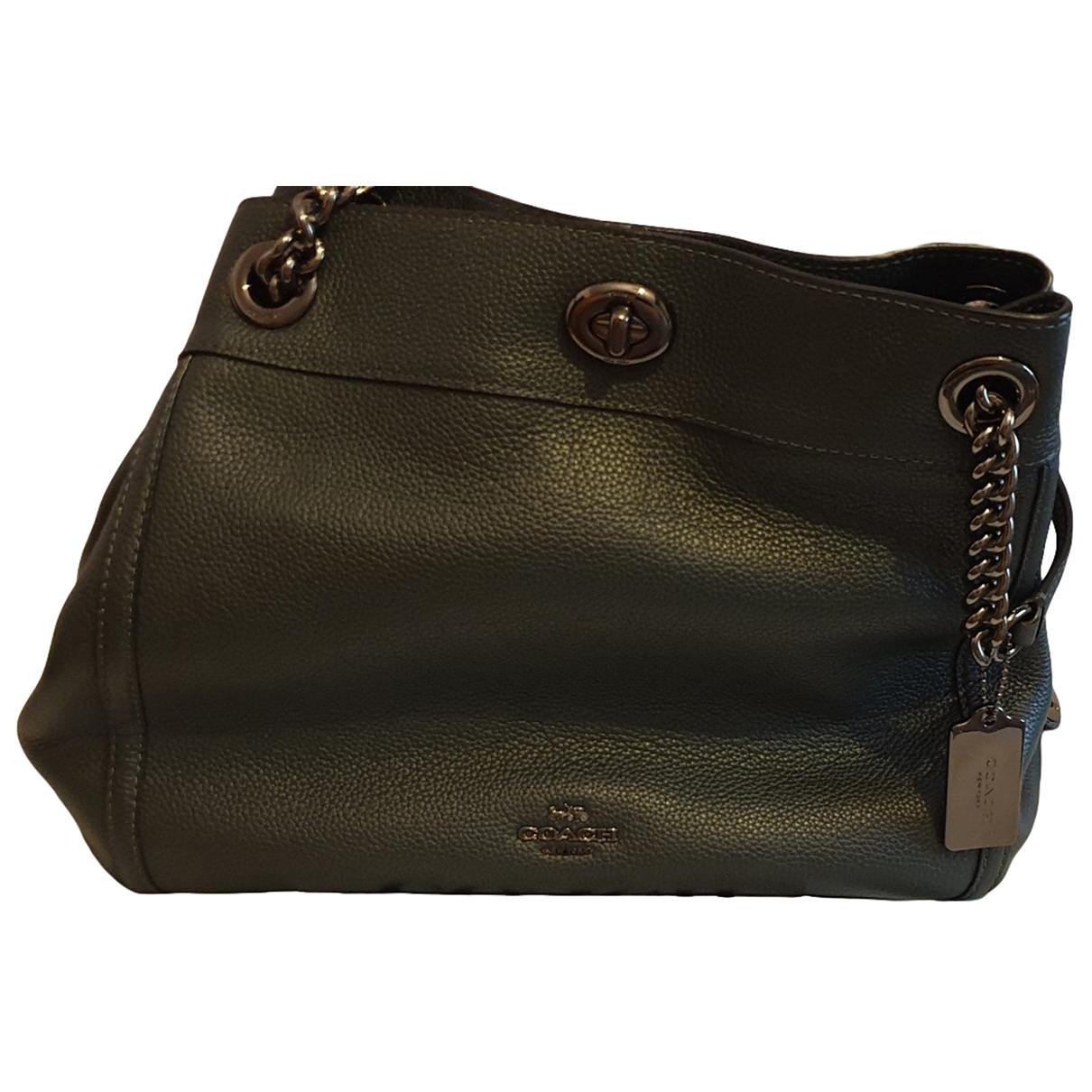 Coach Edie Green / Grey Leather handbag for Women N