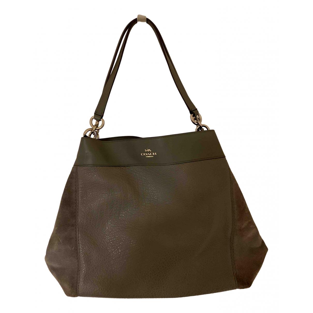 Coach Edie Grey Leather handbag for Women N