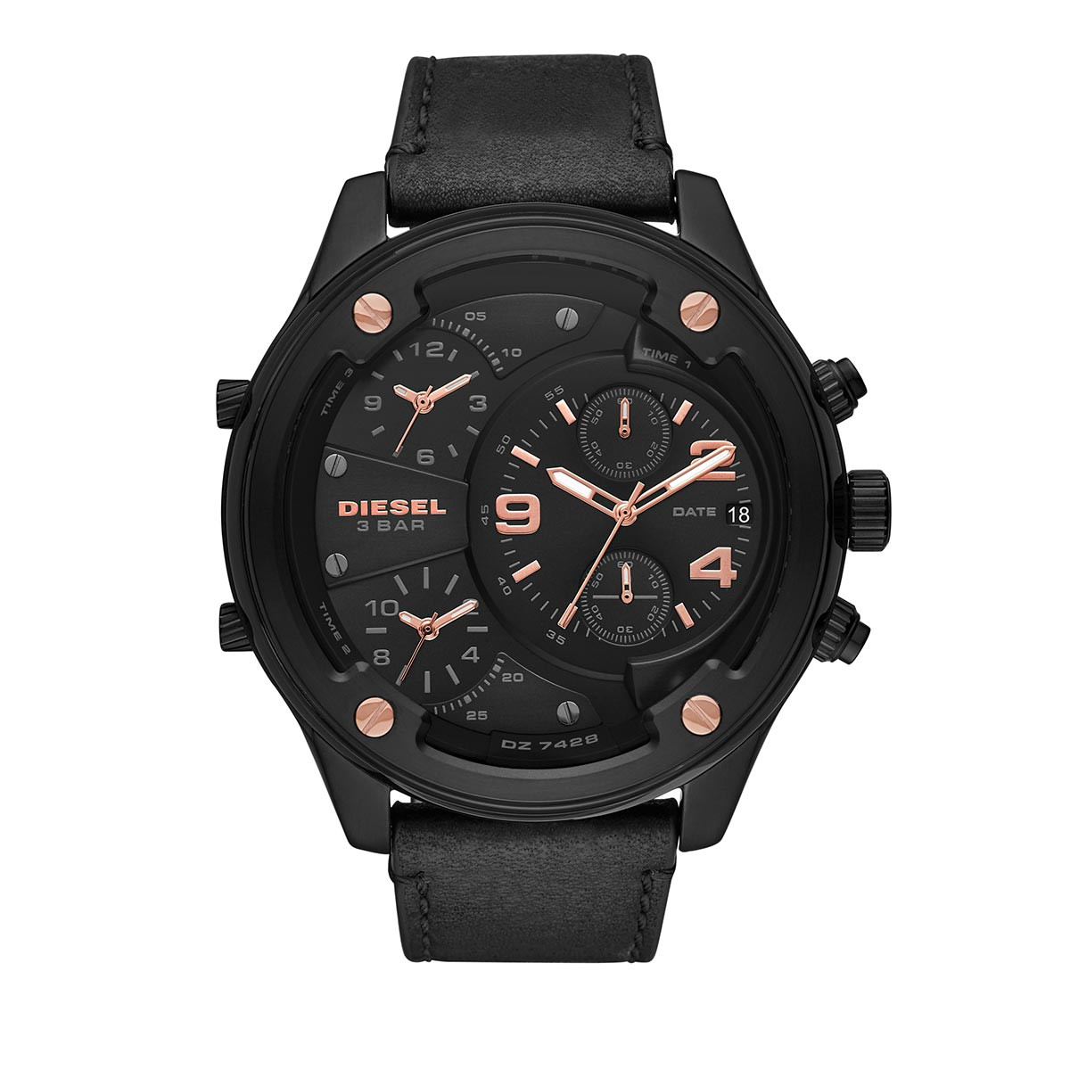 Diesel Uhr - Boltdown Chronograph Leather Watch Black - in schwarz - für Damen