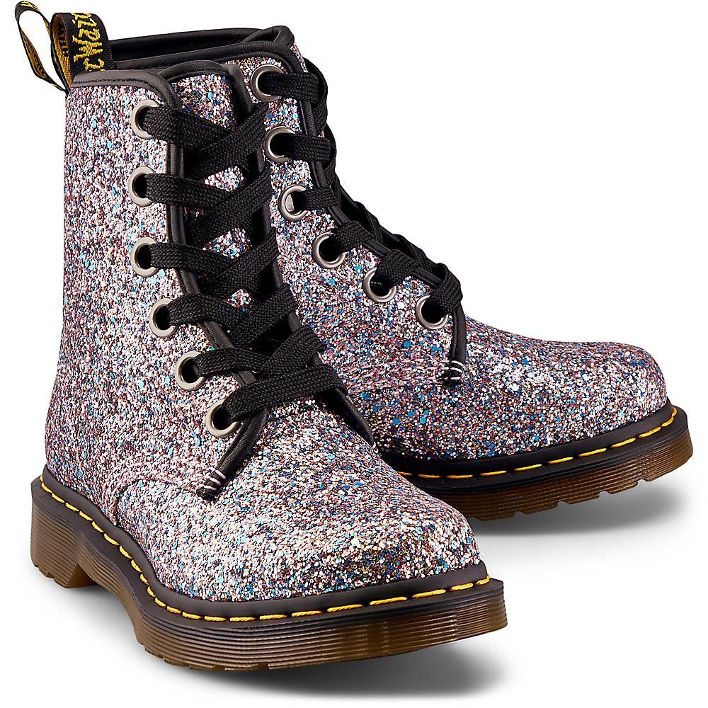 Dr. Martens, Schnür-Boots 1460 Farrah Chunky Glitter in silber, Boots für Damen