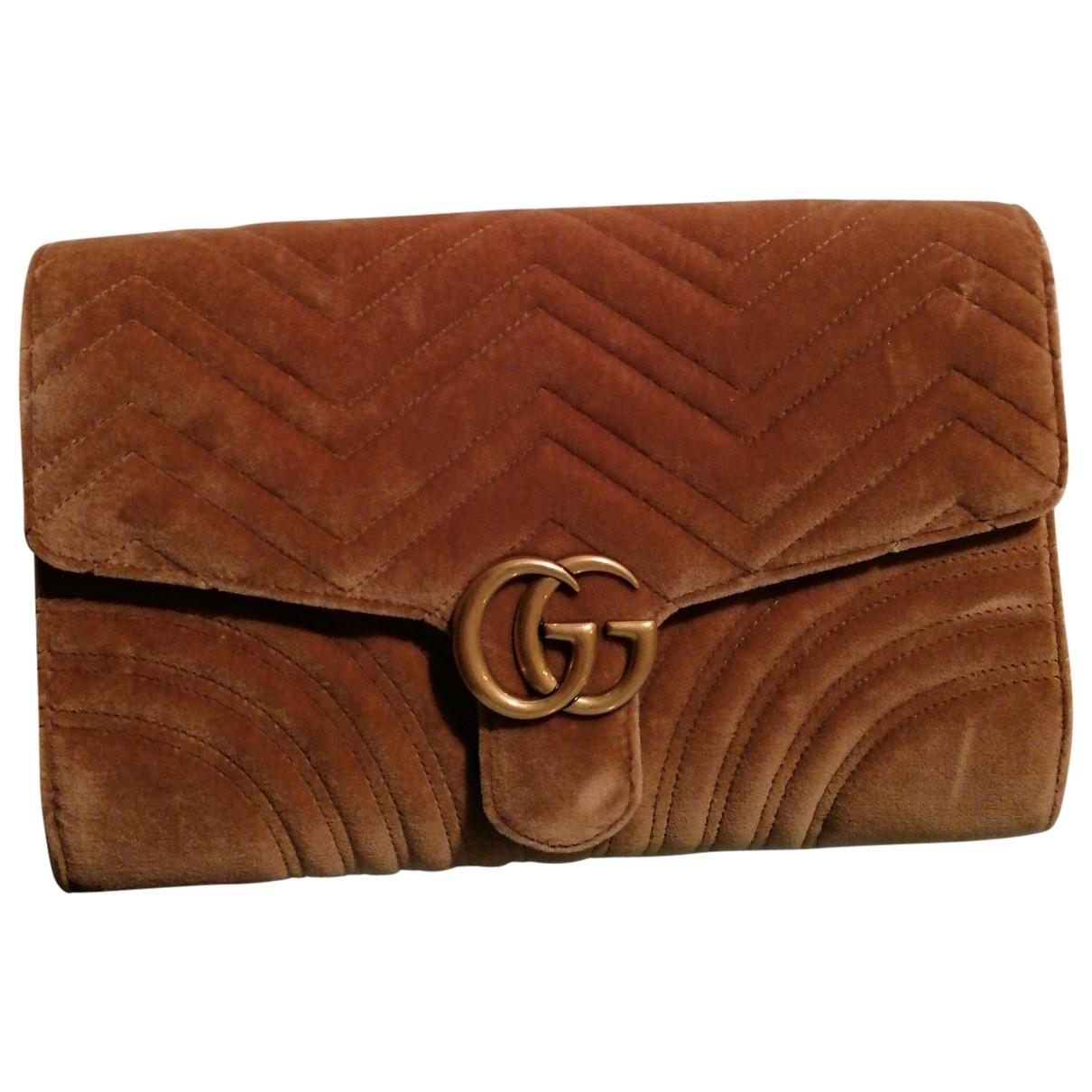 Gucci Marmont Beige Velvet Clutch bag for Women N