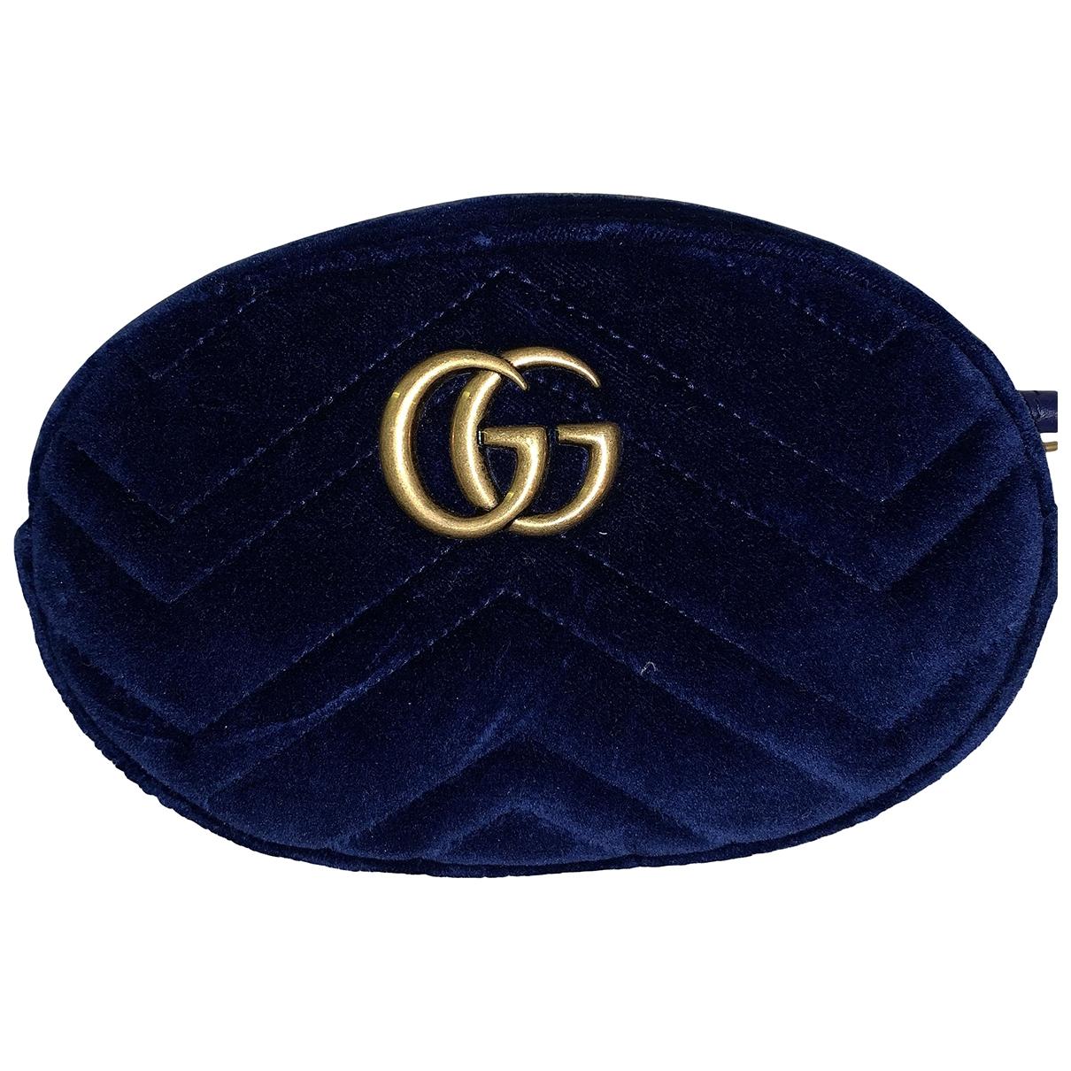 Gucci Marmont Navy Velvet Clutch bag for Women N