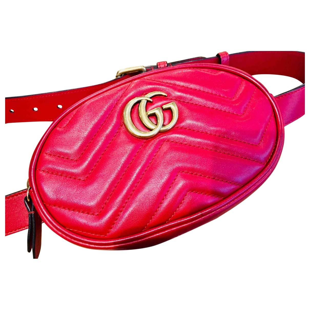 Gucci Marmont Red Leather Clutch bag for Women 95 cm