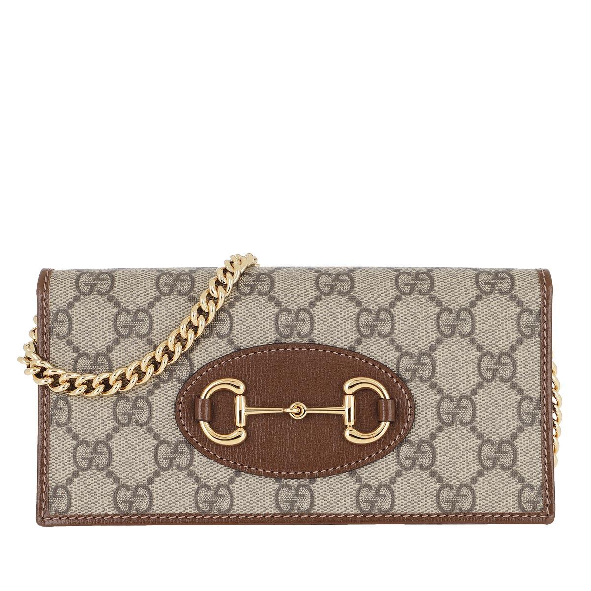 Gucci Umhängetasche - Horsebit Wallet On Chain Leather Beige Ebony - in braun - für Damen