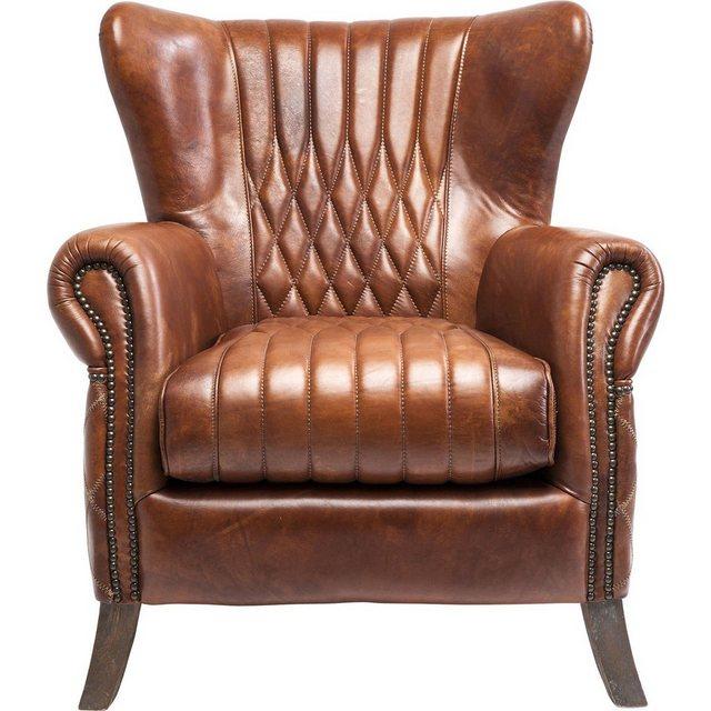 "KARE Sessel ""COUNTRY SIDE"", Bezug: Rindsleder, Korpus: Gummibaumholz, Polsterung: Polyurethan-Schaumstoff, 45kg/m³"