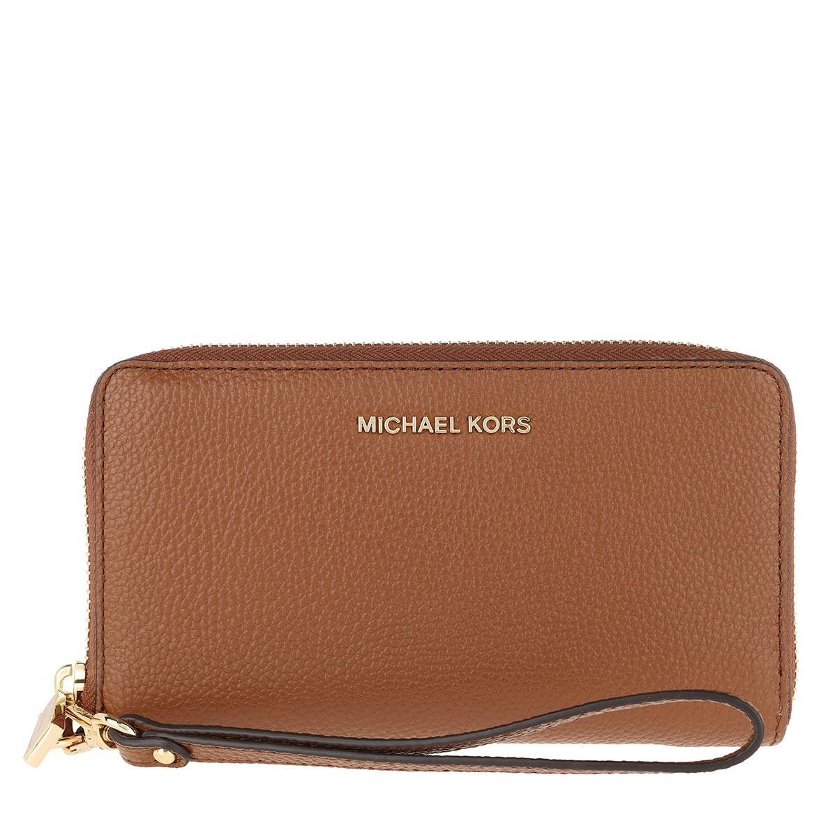 Michael Kors Portemonnaie - Jet Set Large Flat Multifunction Phone Case Luggage - in cognac - für Damen
