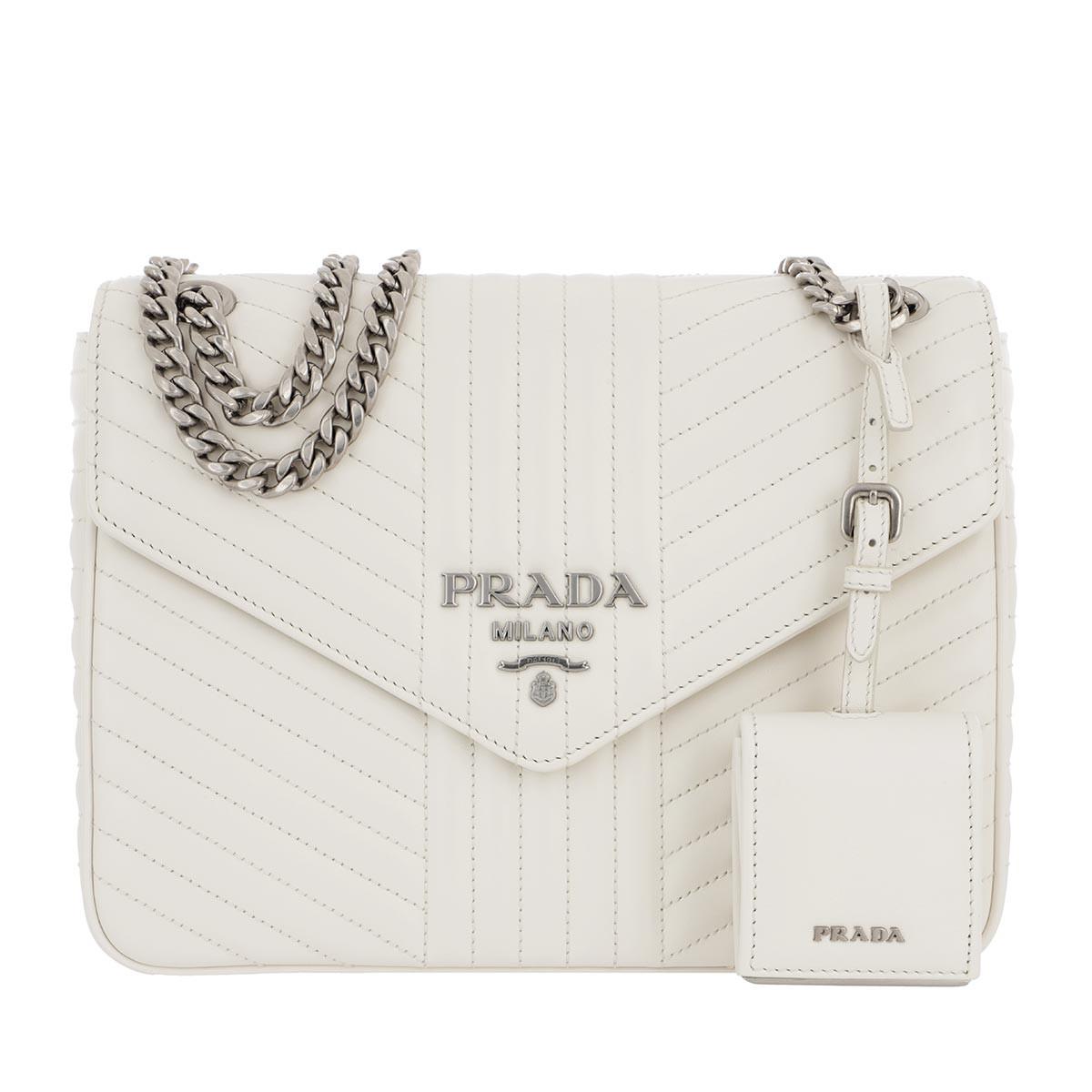 Prada Umhängetasche - Diagramme Shoulder Bag Leather Bianco - in weiß - für Damen