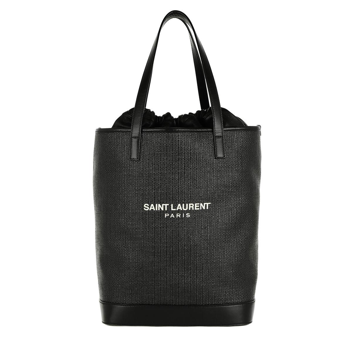 Saint Laurent Tote - Teddy Shopping Bag Raffia Black - in schwarz - für Damen