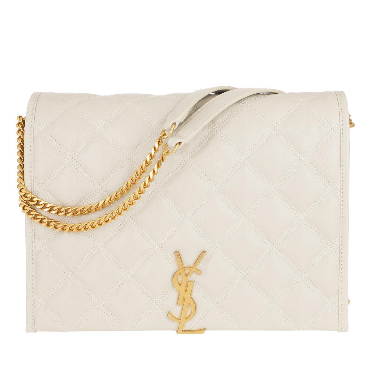 Saint Laurent Umhängetasche - Becky Small Chain Bag Quilted Lambskin Crema Soft - in beige - für Damen