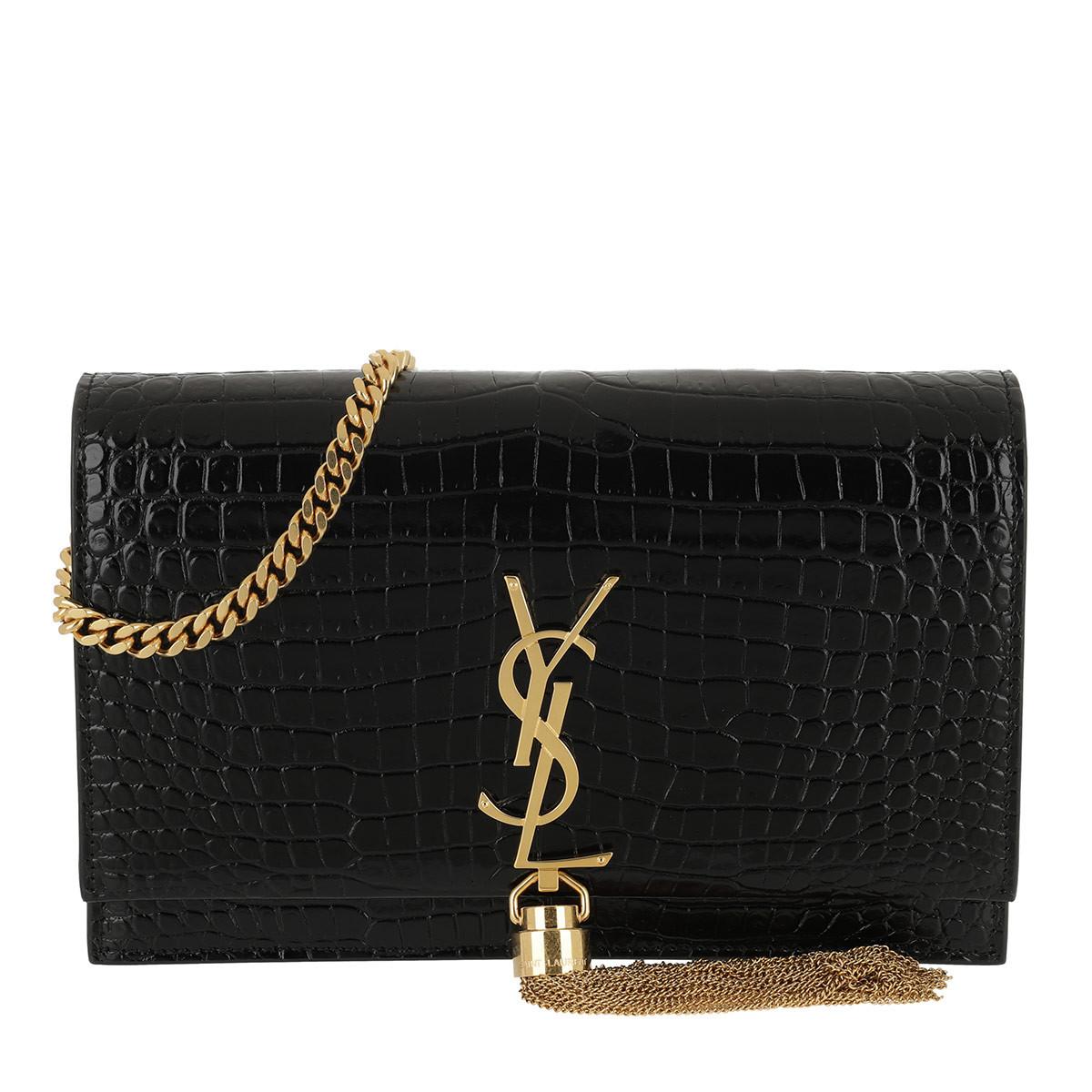 Saint Laurent Umhängetasche - Kate Monogramme Wallet On Chain Black / Gold - in schwarz - für Damen