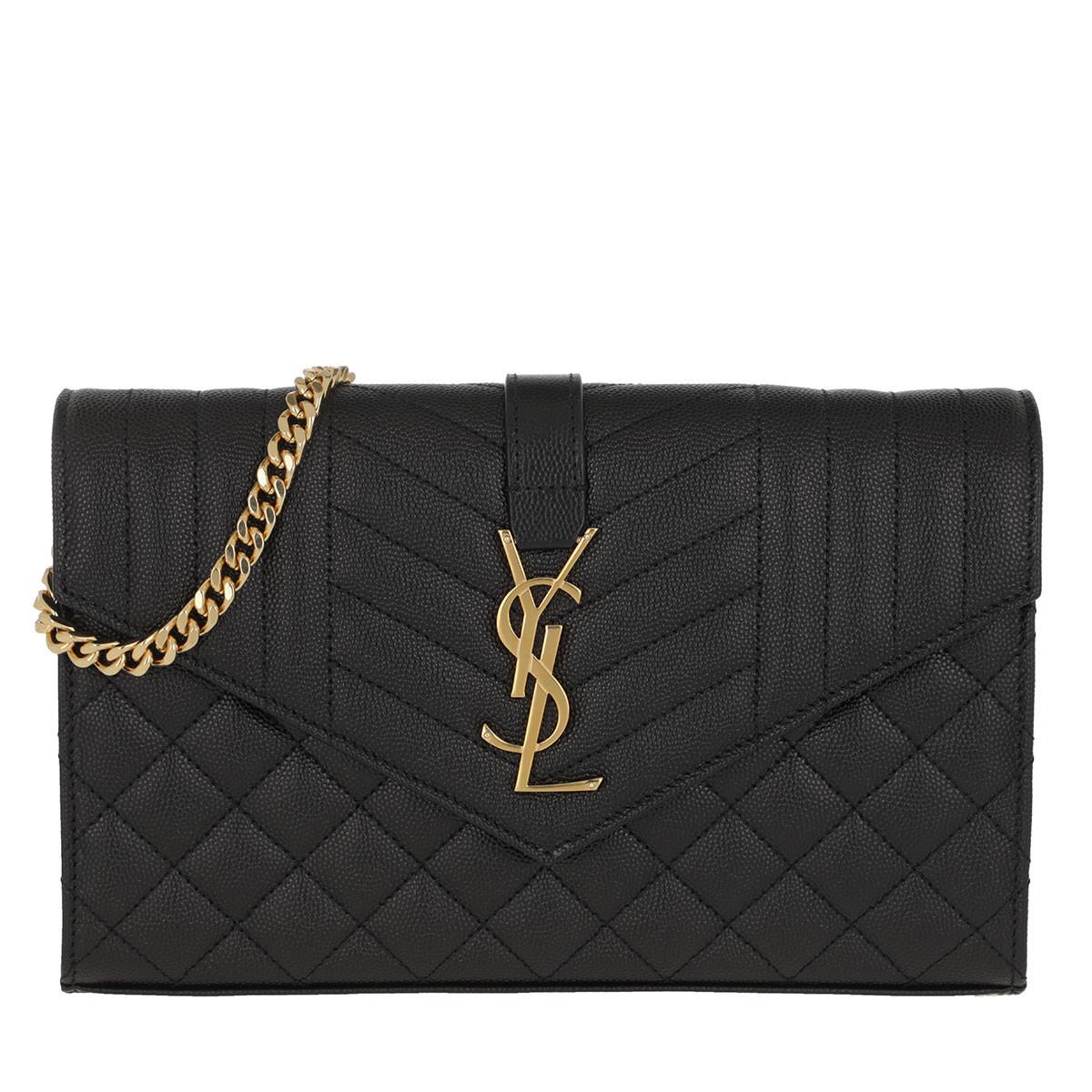 Saint Laurent Umhängetasche - Matelasse Monogram Chain Wallet Black - in schwarz - für Damen