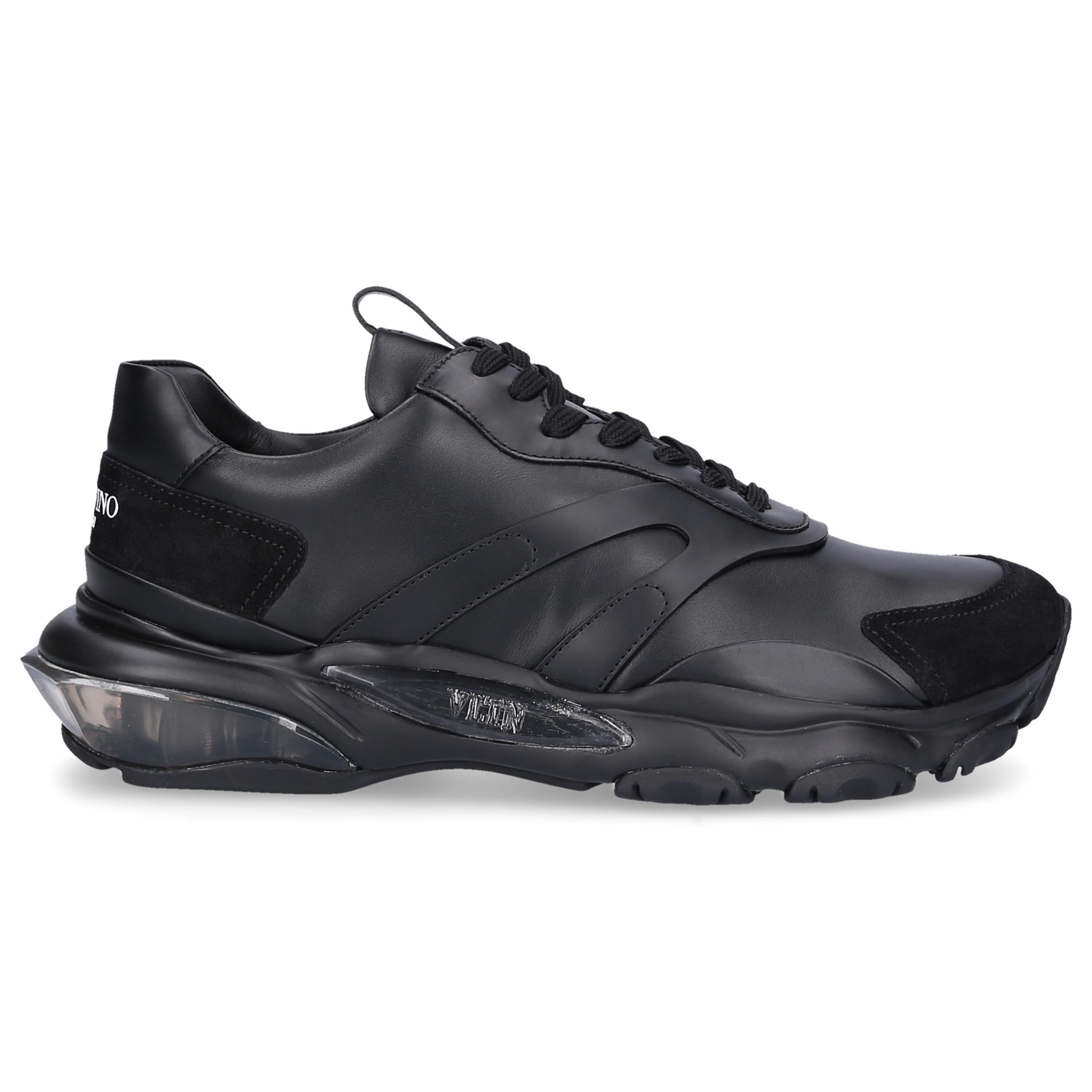Sneaker low BOUNCE Kalbsleder Veloursleder Logo schwarz