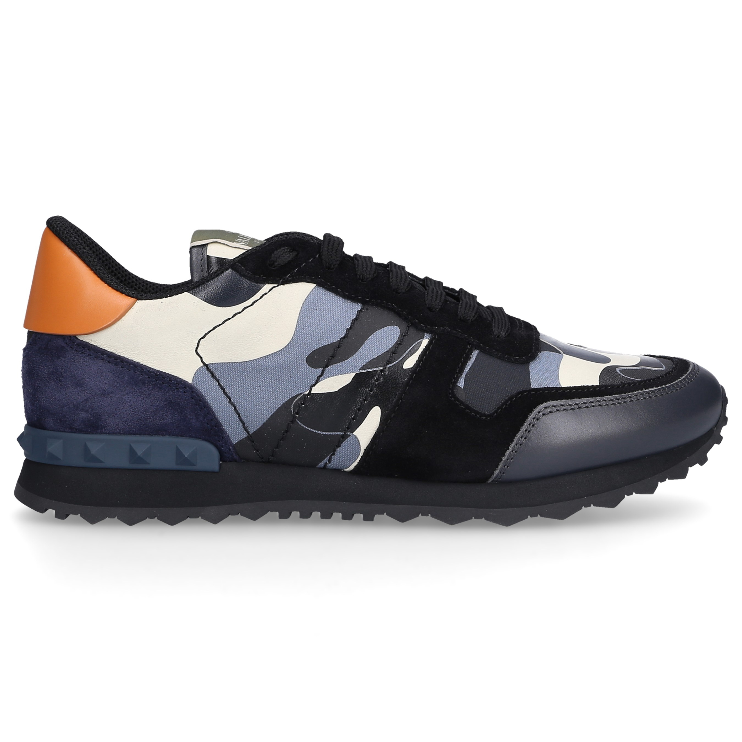 Sneaker low ROCKRUNNER Kalbsleder Materialmix Logo blau schwarz
