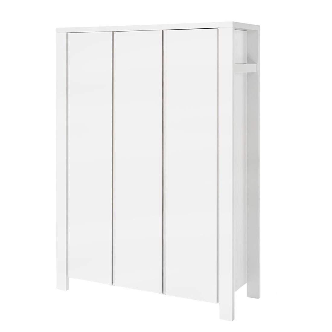 home24 Schardt Kleiderschrank Milano Weiß 140x195x55 cm (BxHxT) 3-türig Melamin Dekor Modern