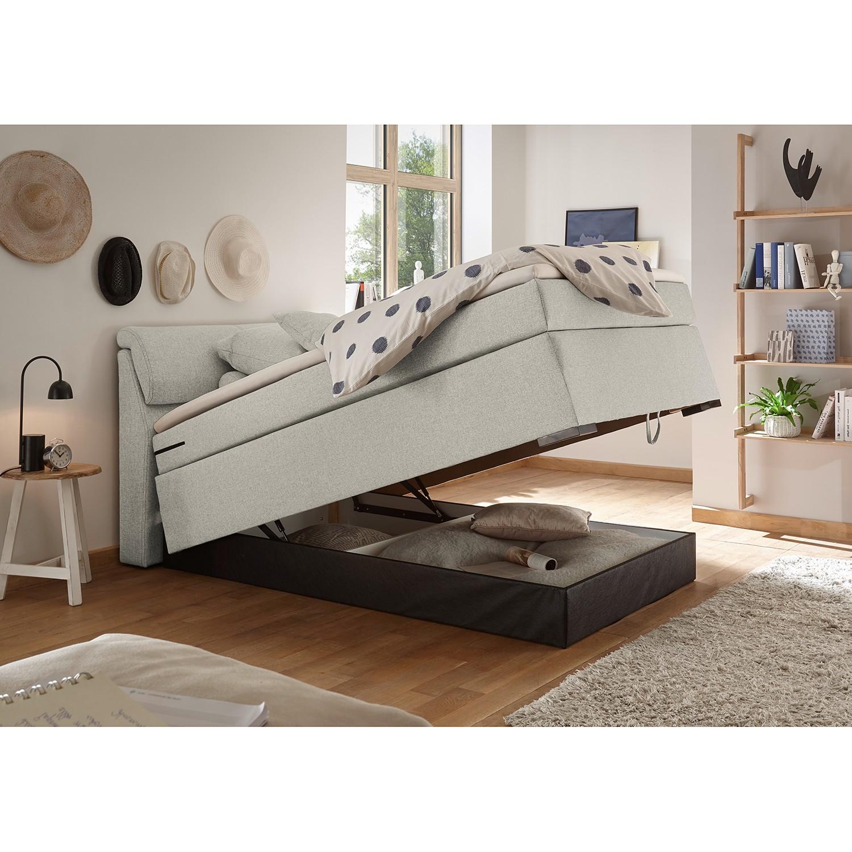home24 loftscape Boxspringbett Kapaa 180x200 cm Webstoff Sand mit Bettkasten/Matratze/Topper Modern