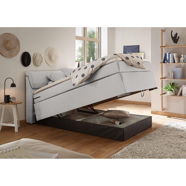 home24 loftscape Boxspringbett Kapaa 180x200 cm Webstoff Silber mit Bettkasten/Matratze/Topper Modern