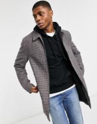 ASOS DESIGN - Karierter Mantel aus Wollmischung in Stein-Creme