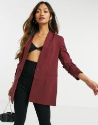 ASOS DESIGN - Mix & Match - Figurbetonter Anzug-Blazer in Weinrot