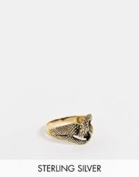 ASOS DESIGN - Ring aus vergoldetem Sterlingsilber mit Schlangendesign, 14K