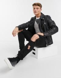 ASOS DESIGN - Schwarze Bikerjacke aus Leder