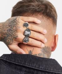 ASOS DESIGN - Set mit Ringen in Silber poliert mit Tigerdesign und Ziersteinen