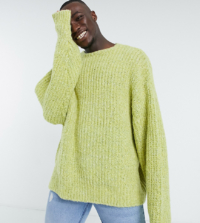 ASOS DESIGN Tall - Grob gestrickter Oversize-Pullover in Limettengrün