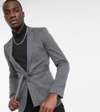 ASOS DESIGN Tall - Sehr eng geschnittener Jersey-Blazer mit Gürtel in Anthrazit-Grau
