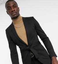 ASOS DESIGN Tall - Superenger Jersey-Blazer in Schwarz mit Gürtel
