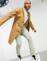 ASOS DESIGN - Ungefütterter Mantel in Camel-Braun
