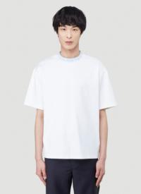 Acne Studios Logo Collar T-Shirt in White