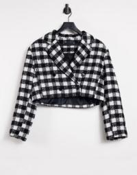 ASOS DESIGN - Kurzer, kastenförmiger Anzug-Blazer aus schwarz-weißem Bouclé-Mehrfarbig