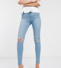 ASOS DESIGN Tall - Ridley - Enge Jeans mit hoher Taille und Rissen, in verwaschenem Hellblau